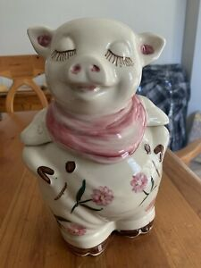 Vintage 1940s Shawnee USA Ceramic Piggy With Pink Handkerchief Cookie Jar