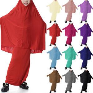 Kid Girls Muslim Abaya Arab Prayer Full Hijab Cover Kaftan Robe Long Maxi Dress