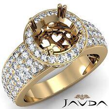 Halo Pave Round Semi Mount 18k Yellow Gold 1.53Ct 4 Row Diamond Engagement Ring
