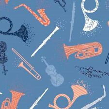 MELODIE~INK & ARROW~QT FABRIC~BY 1/2 YD~musical instruments on blue~26308-W~horn