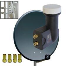 Digital HD Sat Anlage 80cm Spiegel Schüssel Antenne 2 Teilnehmer Twin LNB 0,1 4K