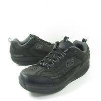 Skechers Shape Ups Sport Mens Size 11 Black Leather Athletic Rocker Sneakers
