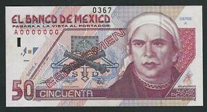 MEXICO RARE 50  PESOS 1992  SPECIMEN   UNC