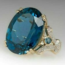 Fashion 18K Yellow Gold Plated Rings for Women Blue Topaz Jewelry Size 9