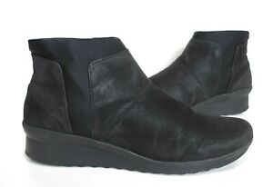 Ladies CLARKS Clousteppers Black Leather wedge heel ankle boots Size UK 8 D Worn