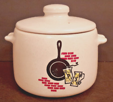 West Bend 2 Quart Crock Bean Pot w/ Lid Stoneware Cream Matte Glaze Mid Century