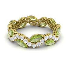 3.40 Ct Natural Diamond Engagement Peridot Rings Marquise 14K Yellow Gold Size I