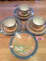 Vintage Japanese Lustre Ware 3 X Trio Cake Plate EggShell Porcelain Hand Painted