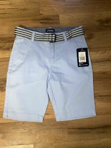 Polo Ralph Lauren boys belted shorts size 8 NWT, Light Blue, Chino, Flat Front