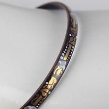Vintage Emaille Armreif ∅ 5,7 Blumen Schmuck 70er schwarz, gold, weiß Armring 8