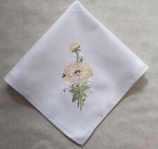 Vintage Handkerchief MENS Hankie Top Pocket Square EMBROIDERED FLORAL