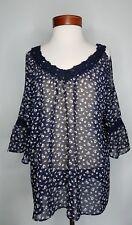 Womens Charming Charlie Shirt  Cold Shoulder Sheer Top V neck Crochet Size XL
