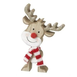 WOODEN RUDOLPH IN RED & WHITE SCARF