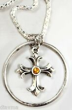 Yellow Rhinestone Cross on chain Necklace