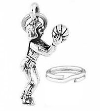 SILVER 3D FEMALE BASKETBALL PLAYER CHARM W/ SPLIT RING