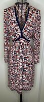 Ladies MAX STUDIO Navy Red Art Deco Patterned V Neck Dress XL 16 18