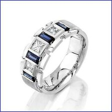 Beautiful 1.75ct Men's Diamond & Sapphire PLATINUM Designer Band