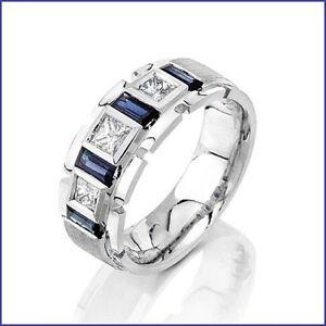 Beautiful 1.75ct Men's Diamond & Sapphire PLATINUM Designer Band