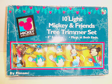 Vintage Box Mickey Mouse & Friends Christmas Tree Trimmer 10 Light Set Box WORKS