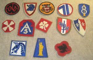 World War II WWII Era Army Patch Lot of Thirteen
