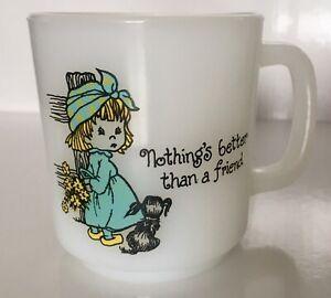Vintage Glasbake Milk Glass Mug Nothing's Better Than A Friend Puppy Dog Girl