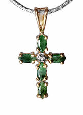 Tender Cross in 925er Sterling silver and Emeralds small Diamond