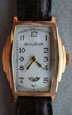 Rare Vintage 1932 Bulova President Wandering Second Watch Gold Filled Tank Style
