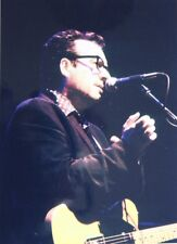 Photo of Elvis Costello in concert original mounted 11 x 8 inch by Mel Longhurst
