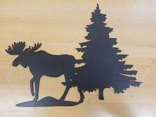 Moose with Pine tree metal wall art plasma cut sign gift idea