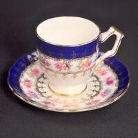 Aynsley Footed Cup Saucer Demi Tasse Cobalt Blue Gold Scrollwork Roses 1960-1971