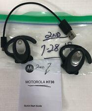 2 Motorola H730 Bluetooth Wireless Headsets Silver 1 Cord 1 Quick Start Guide