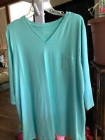 Denim & Co Essentials Size XL VNeck Aqua Blue Tunic Top 3/4 Sleeves
