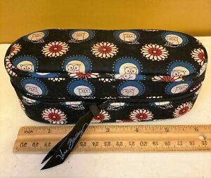 "Vera Bradley Owl Print  Zip Around Padded Fabric Glasses Case 6.5"" W x 2.5""H"