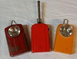Wonder Leclanché : 2 Lampes Et 1 Allume Gaz Métal à Pile Vintage