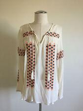 Joie Bohemian Festival Ivory Cotton Gauze Hippie Embroidered Tunic Blouse XS