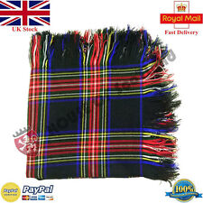 Scottish Black Stewart Tartan Kilt Fly Plaid Acrylic Wool 48''x48' Purled Fringe