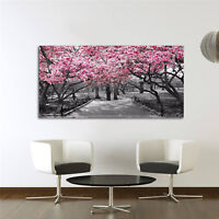 Black & White Wall Art Pink Blossoms Canvas Wall Art Picture Print UK