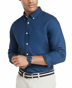 Tommy Hilfiger Men's Custom Fit New England Solid Oxford Shirt, Navy, Large