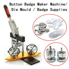 """Button Maker Badge Punch Press Machine 1"""" 1.25"""" 1.45'' 2'' 2.28"""" 300 Parts Mould"""