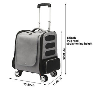 Pet Travel Carrier with Wheels, Pet Backpack Straps for Dogs and Cats Adjustable
