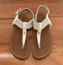 Girls Betts WEAVY White/Silver Thong Style Sandals - Size 4