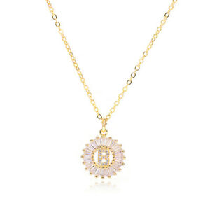 Crystal Initial Letter Necklace A-Z Pendant Name Zircon Birthday Lucky Love Gift