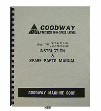 Goodway Lathe GW1422, 1433, 1440, 1633, 1640, 1660 Instruction-Parts Manual 1468