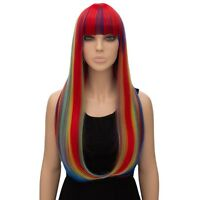 Women's Natural Long Straight hair Rainbow colors neat bang Wigs Lady Full Wig