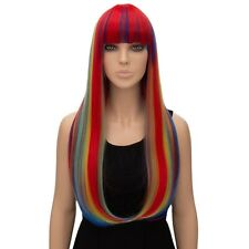Women's Natural Long Straight hair Rainbow colors neat bang Wigs Lady Full Wig