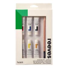 Reeves Vernice Acrilica 9 Piece Kit Base - 6 Colori, Spazzola, Matita & Tela