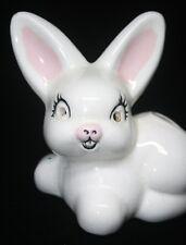Vintage White Rabbit Bunny Figurine Cotton Holder Mid Century