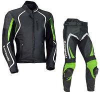 Kawasaki Motociclo Pelle Giacca Pantalone Corsa Motociclista Tuta 2pcs Protezion