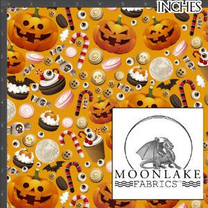 Pumpkin and Treats fabric, 100% Quality Cotton Poplin Fabric *Exclusive*