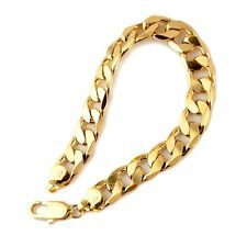 """Men's Bracelet 18K Yellow Gold Filled Curb Link 9"""" Chain Fashion Jewelry 12mm"""